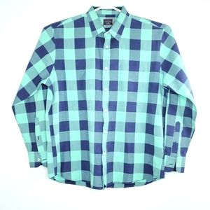 UNTUCKit Mens XL Blue and Green Plaid Dress Shirt